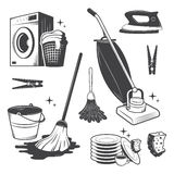 Set of cleaning tools. Set of black and white vintage cleaning tools Stock Photo