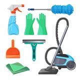 Set of cleaning tools rubber gloves, brush for removing dust,. Squeegee for windows, plastic scoop, liquid detergent, vacuum cleaner isolated on white vector Stock Photos