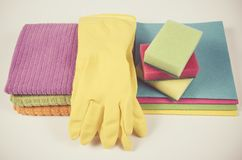 Set of cleaning up stuff  on white background. Royalty Free Stock Photo