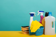 Set of cleaning and washing equipment. Cleaning concept with supplies Stock Photography