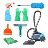 Set cleaning wytłacza wzory gumowe rękawiczki, muśnięcie dla usuwać pył, ilustracja wektor