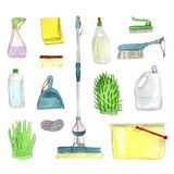 Set of cleanings tools on white background. Royalty Free Stock Image