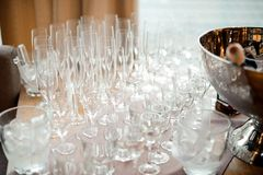 Set of clear and empty glasses for alcoholic drinks on the table Stock Photography