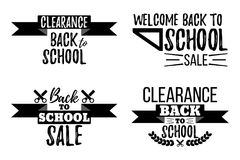 Set of Clearance Sale School Typographic. Royalty Free Stock Photography