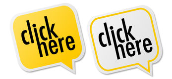 Set of click here labels Stock Photos