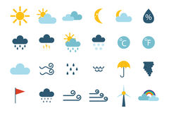 Set of climate forecast weather icons vector. Stock Photos