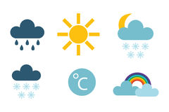 Set of climate forecast weather icons vector. Stock Images
