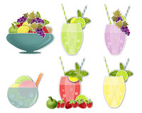 Set clip art of cold drinks and ice cream, fruits Stock Photo