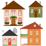 Set of clip art houses. Four houses made in simple style Stock Images