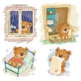 Set clip art illustrations of bored teddy bears. Stock Image