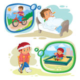 Set clip art illustrations little boy sick Royalty Free Stock Image