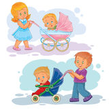 Set clip art illustrations older brother and sister wheeled baby carriage, stroller Royalty Free Stock Photos