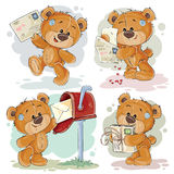 Set clip art illustrations of teddy bear gets and sends letters Stock Photos