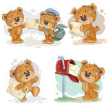 Set clip art illustrations of teddy bear gets and sends letters Royalty Free Stock Photo
