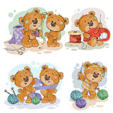 Set of clip art illustrations of teddy bears and their hand maid hobby. Sewing, knitting Royalty Free Stock Image