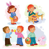 Set clip art illustrations with young children on Easter theme Stock Photo