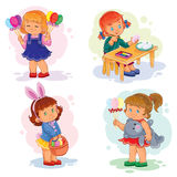 Set clip art illustrations with young children on Easter theme Royalty Free Stock Photos