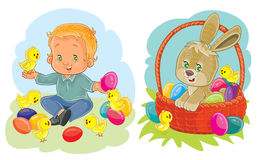 Set clip art illustrations with young children on Easter theme Royalty Free Stock Images