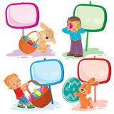 Set clip art illustrations with young children on Easter theme Royalty Free Stock Photography