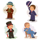 Set clip art illustrations with young children in historical costumes Royalty Free Stock Images