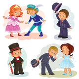 Set clip art illustrations with young children in historical costumes Stock Image