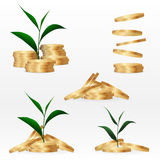 Set clipart. Coins, finance and banking concept. Stock Photography
