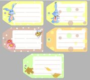 Set of clipart labels with cute baby rabbits, baby animals, autumn theme royalty free illustration