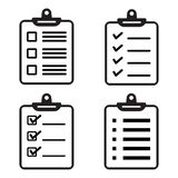 Set of clipboard or checklist icons. Vector illustration stock illustration