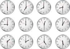 Set of clock. Whith business time Stock Photography