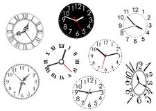 Set of clock dials Stock Photos