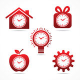 Set of  clock in different shapes.  Stock Photos