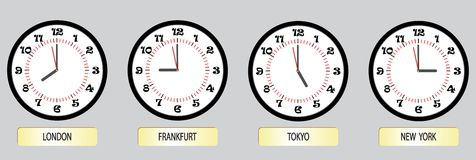 Set of clock exchanges Royalty Free Stock Photos