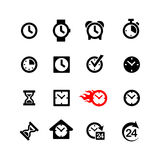 Set 16 clock icons. Alarm clock, hourglass, watches Royalty Free Stock Photography