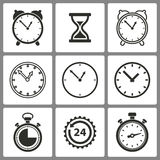 Set of Clock Icons. Set of black clock icons on white background for graphic design and Internet sites. Vector illustration Stock Illustration