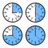 Set of clock icons showing different time. Vector illustration stock illustration