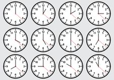 Set of clock icons showing time. Vector illustration royalty free illustration
