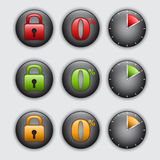 Set of clock, padlock and percent buttons Stock Photos