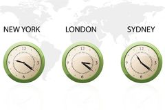 Set of clock showing time around the world Royalty Free Stock Photography