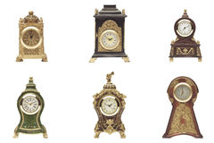 Set of clock on white background Stock Photos