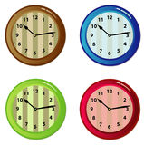 Set of clocks. Set of nice coloured clocks Stock Illustration