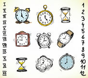 Set of clocks Stock Photography