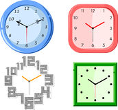 Set of clocks. Illustrated set of four different clocks, white background Stock Images
