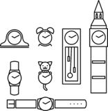 Set of clocks. Set of black and white outline clocks stock illustration
