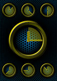 Set of clocks with hex background Royalty Free Stock Photography