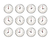 Set of clocks icons for every hour of day on white Royalty Free Stock Image