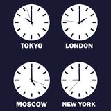 Set of clocks showing the time difference in different time zones. Timezone clock .international time. Vector white icon on dark b. Lue background royalty free illustration