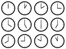 Set of clocks, with the times set at every hour. Vector illustration.  vector illustration