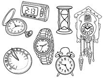 Set of clocks and watches Stock Photography