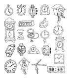 Set of clocks and watches, Hand drawn vector illustration. Royalty Free Stock Photo