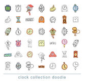Set of clocks and watches, Hand drawn vector illustration. Stock Photos